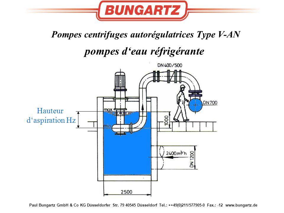 Pompes centrifuges autorégulatrices Type V-AN pompes d'eau réfrigérante