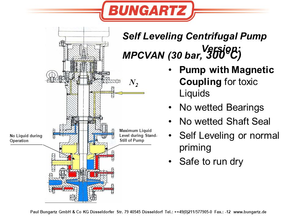 Self Leveling Centrifugal Pump Version: MPCVAN (30 bar, 300°C)