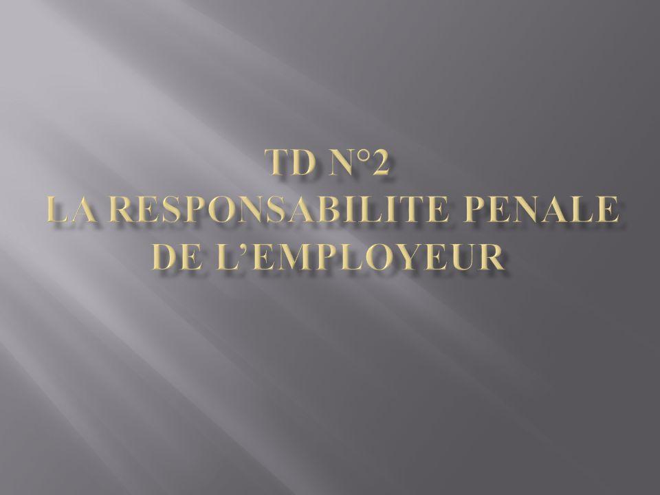 TD N°2 LA RESPONSABILITE PENALE DE L'EMPLOYEUR