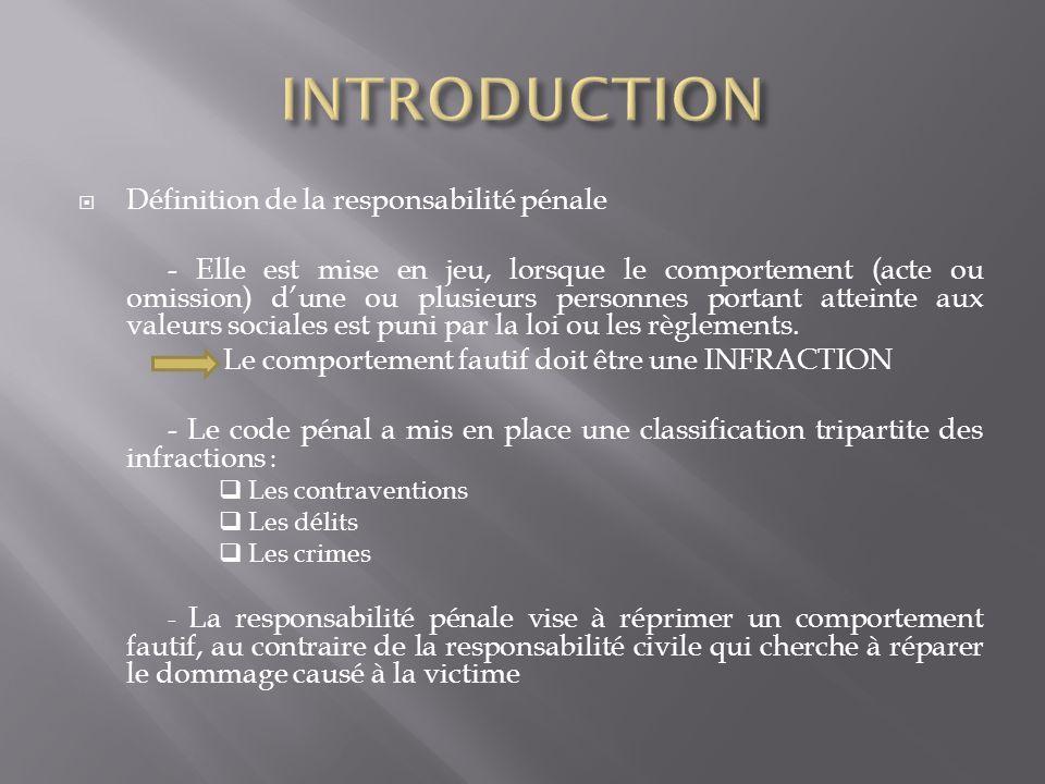 INTRODUCTION Définition de la responsabilité pénale