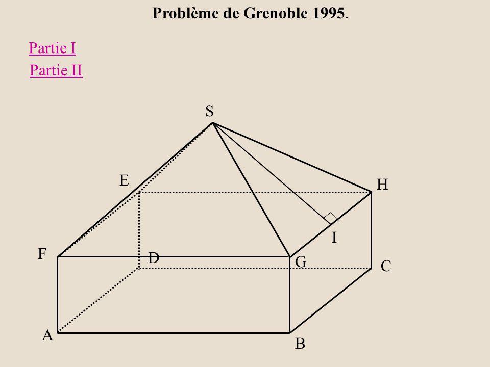 Problème de Grenoble 1995. Partie I Partie II S E H I F D G C A B
