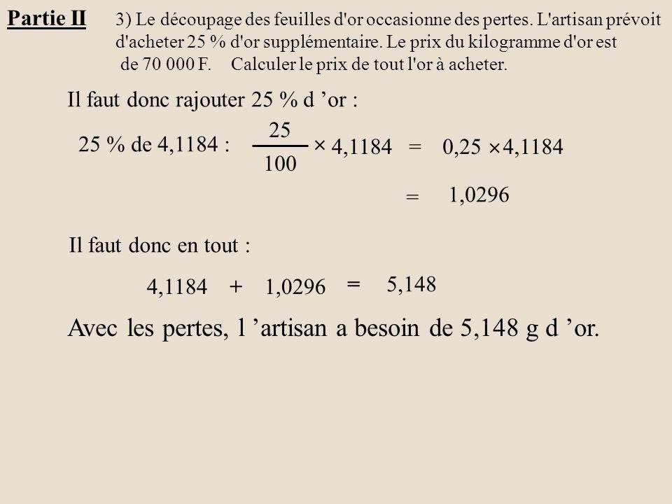 Avec les pertes, l 'artisan a besoin de 5,148 g d 'or.