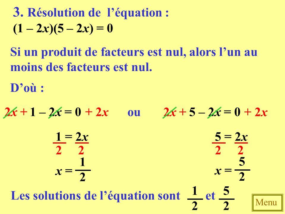 3. Résolution de l'équation :