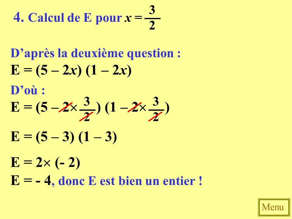 E = - 4, donc E est bien un entier !