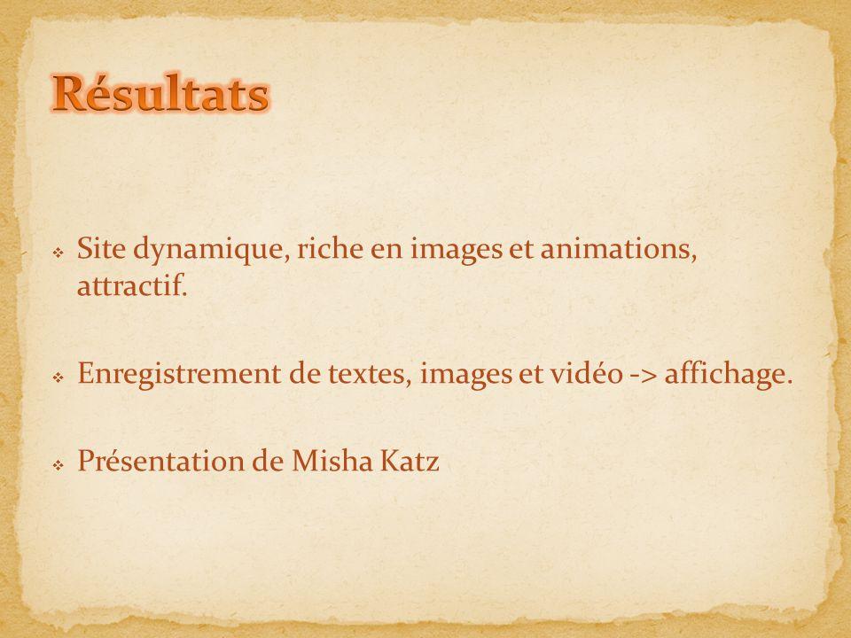 Résultats Site dynamique, riche en images et animations, attractif.