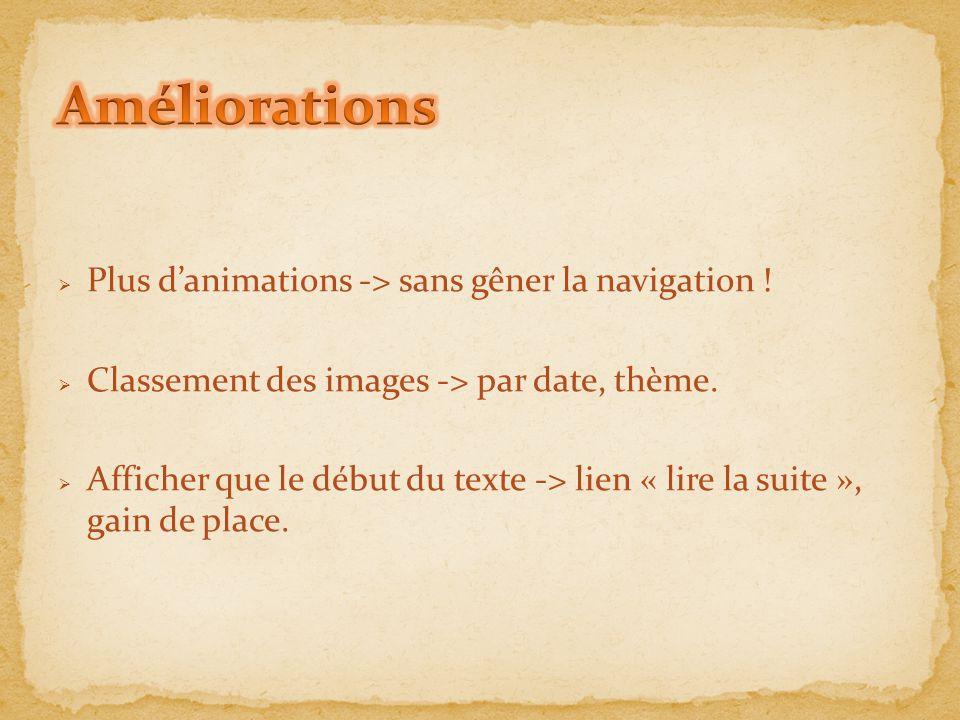 Améliorations Plus d'animations -> sans gêner la navigation !