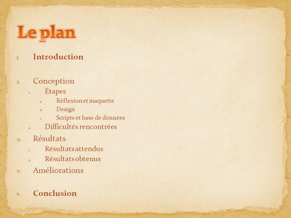 Le plan Introduction Conception Résultats Améliorations Conclusion