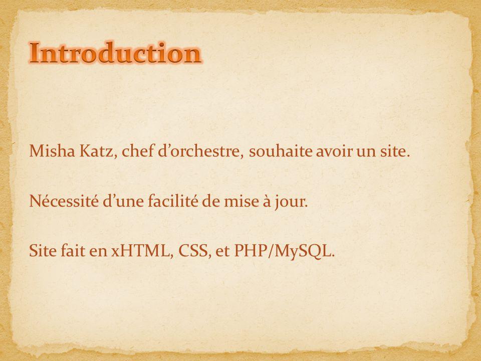 Introduction Misha Katz, chef d'orchestre, souhaite avoir un site.