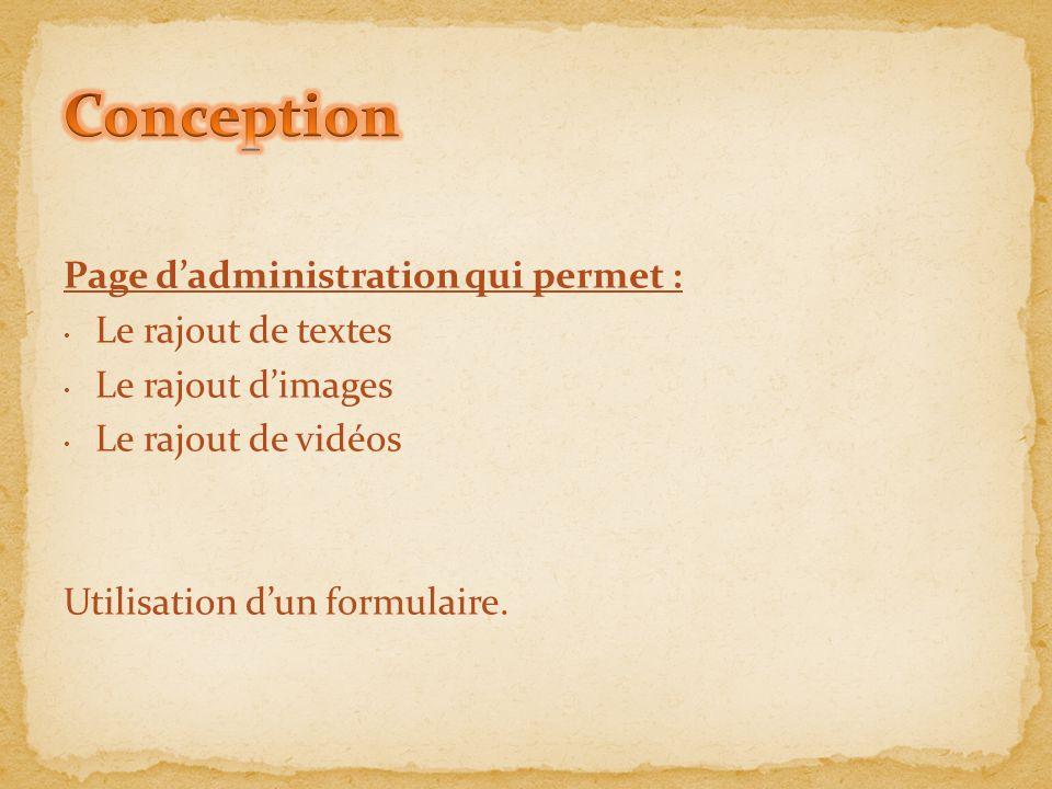 Conception Page d'administration qui permet : Le rajout de textes