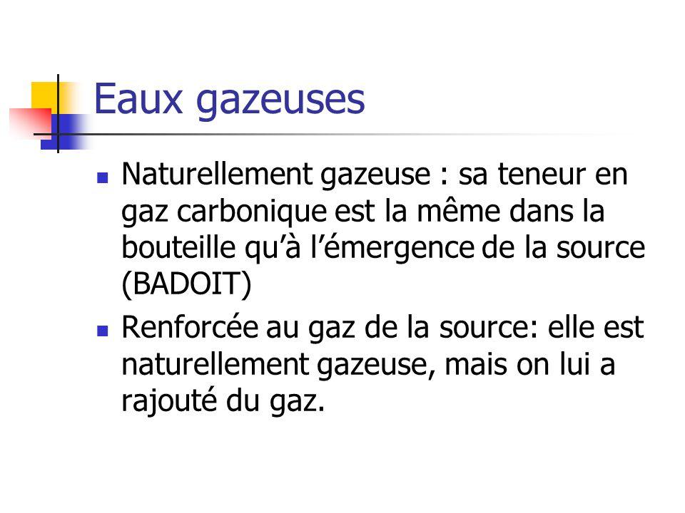 Eaux gazeuses Naturellement gazeuse : sa teneur en gaz carbonique est la même dans la bouteille qu'à l'émergence de la source (BADOIT)