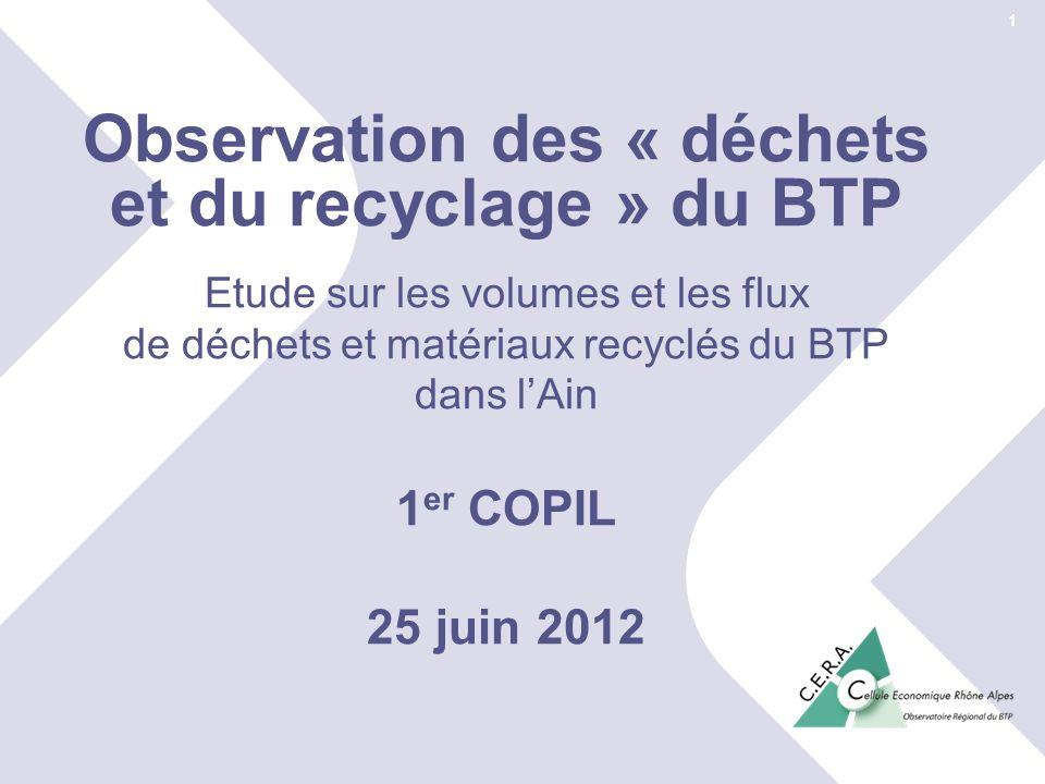 Observation des « déchets et du recyclage » du BTP
