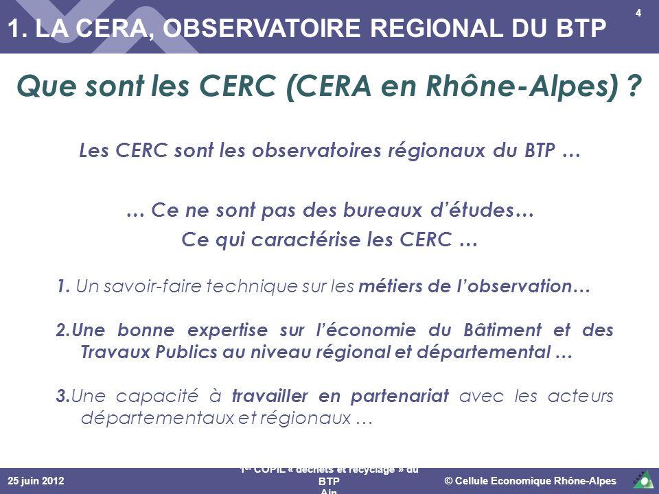 1. LA CERA, OBSERVATOIRE REGIONAL DU BTP