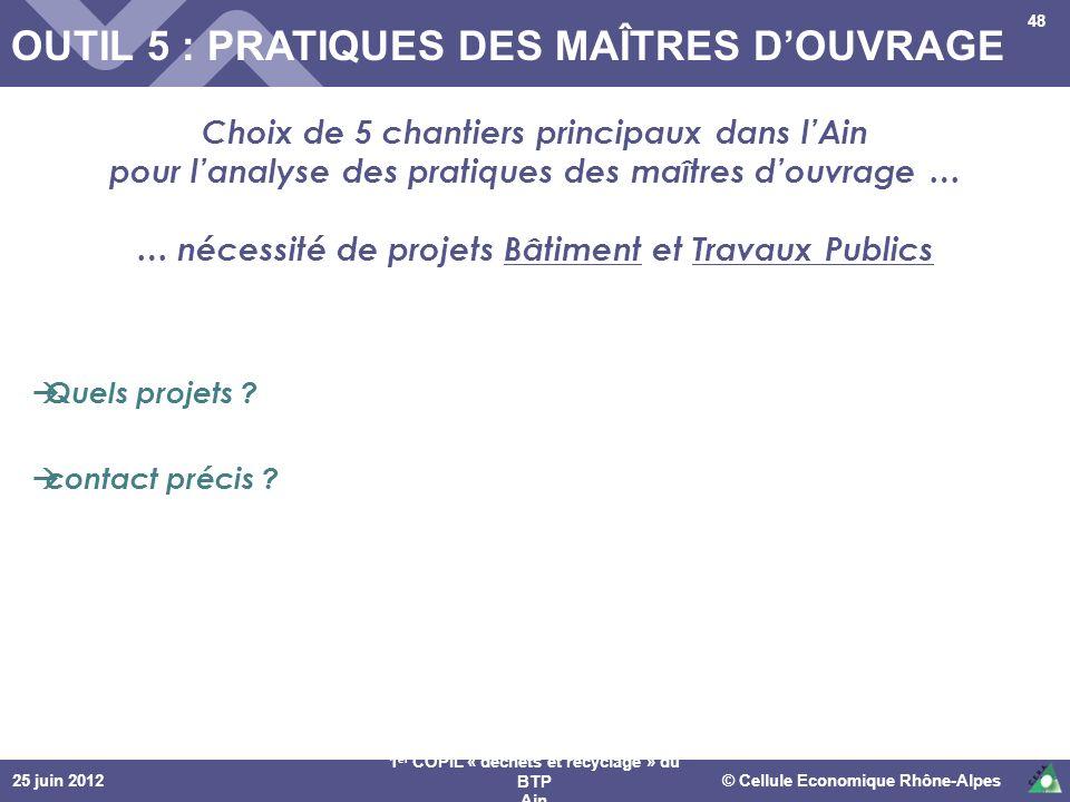 OUTIL 5 : PRATIQUES DES MAÎTRES D'OUVRAGE