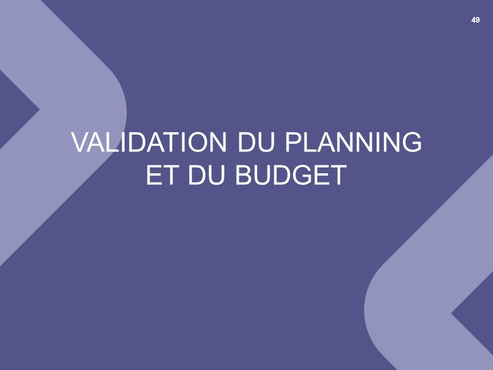 Validation du planning et du budget