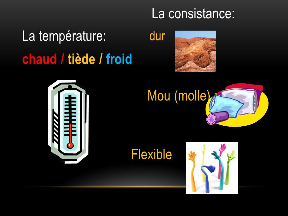 La consistance: La température: chaud / tiède / froid Mou (molle) :