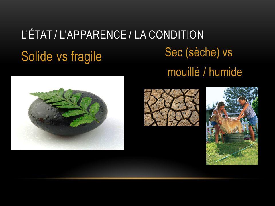 L'état / l'apparence / la condition