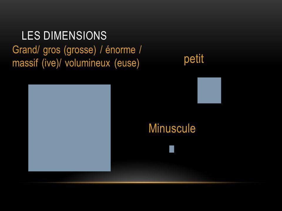 petit Minuscule Les dimensions