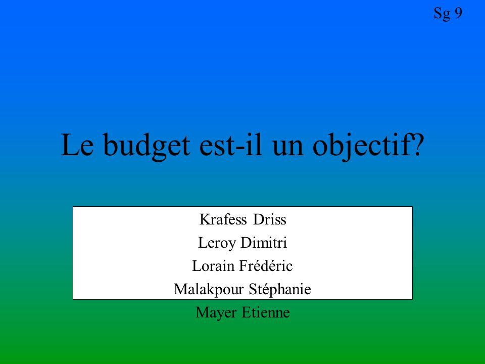 Le budget est-il un objectif
