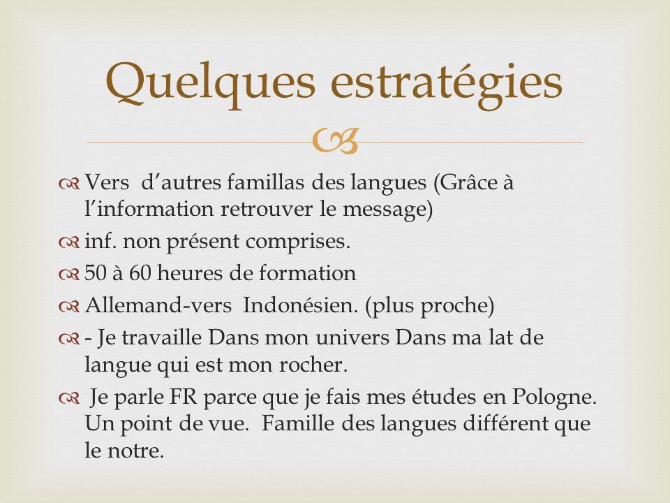 Quelques estratégies Vers d'autres famillas des langues (Grâce à l'information retrouver le message)