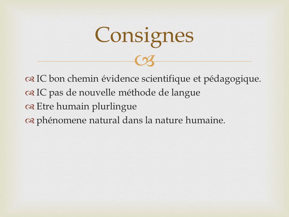 Consignes IC bon chemin évidence scientifique et pédagogique.