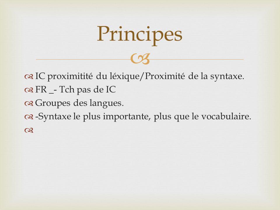 Principes IC proximitité du léxique/Proximité de la syntaxe.