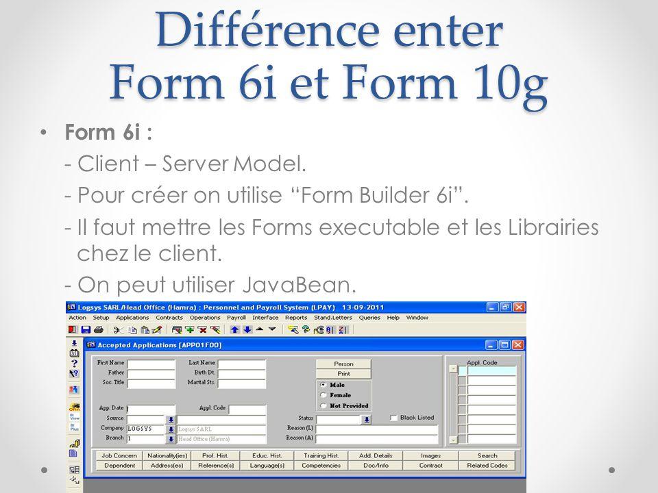 Différence enter Form 6i et Form 10g