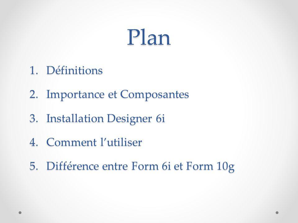 Plan Définitions Importance et Composantes Installation Designer 6i