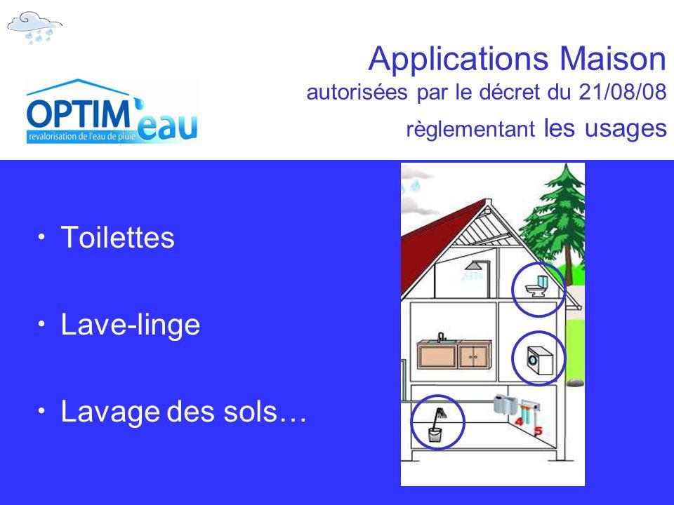 Applications Maison autorisées par le décret du 21/08/08 règlementant les usages