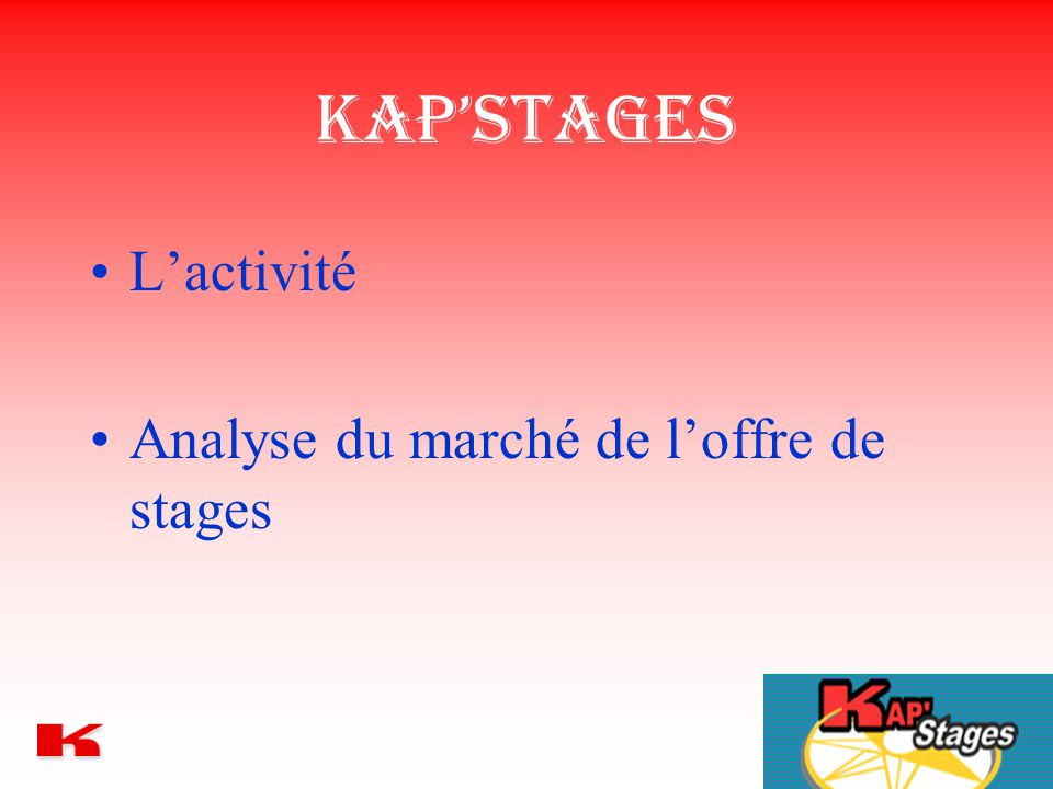 Kap'Stages L'activité Analyse du marché de l'offre de stages