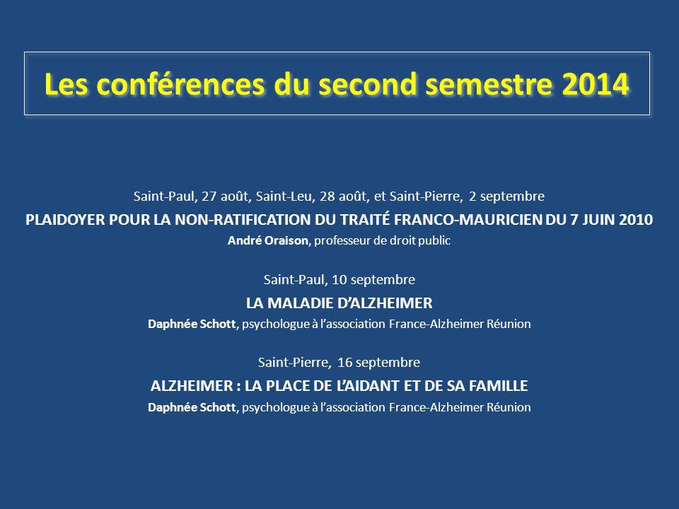 Les conférences du second semestre 2014