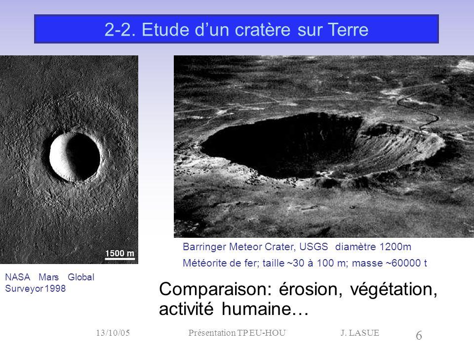 2-2. Etude d'un cratère sur Terre