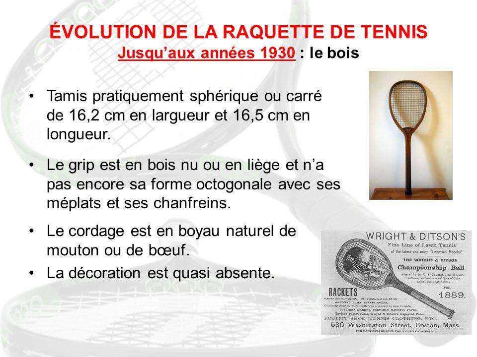 ÉVOLUTION DE LA RAQUETTE DE TENNIS Jusqu'aux années 1930 : le bois