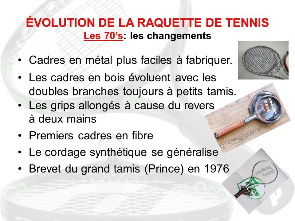 ÉVOLUTION DE LA RAQUETTE DE TENNIS Les 70's: les changements