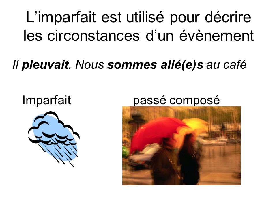 L'imparfait est utilisé pour décrire les circonstances d'un évènement