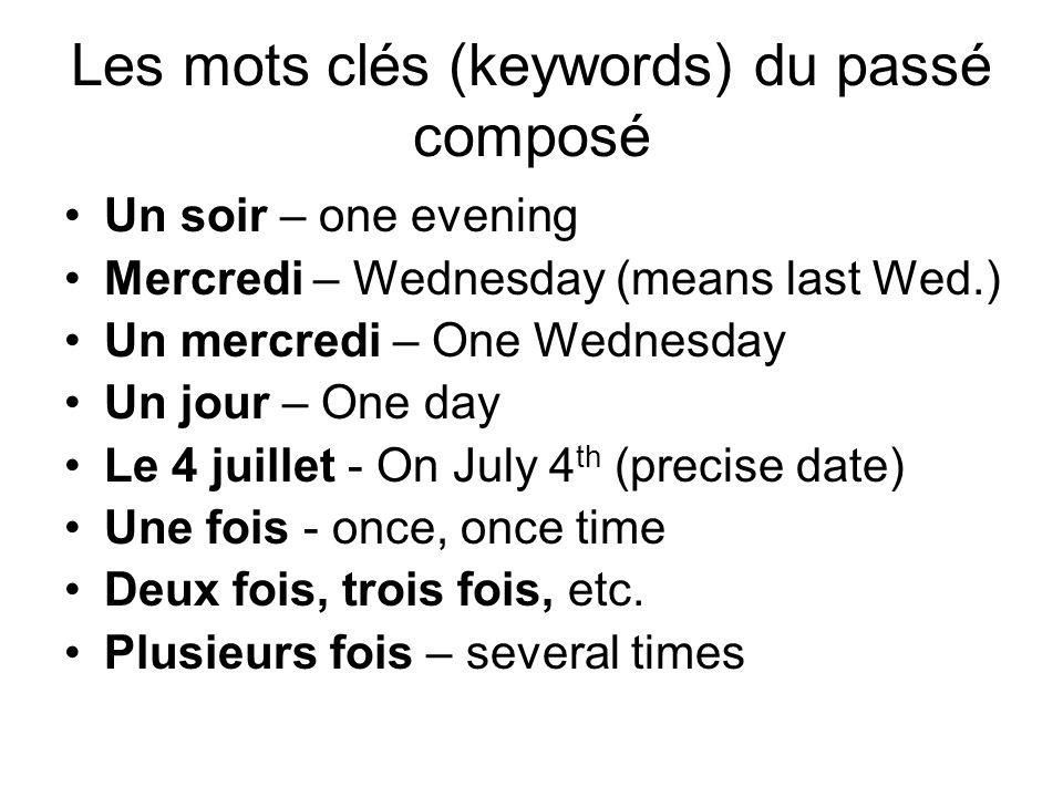 Les mots clés (keywords) du passé composé