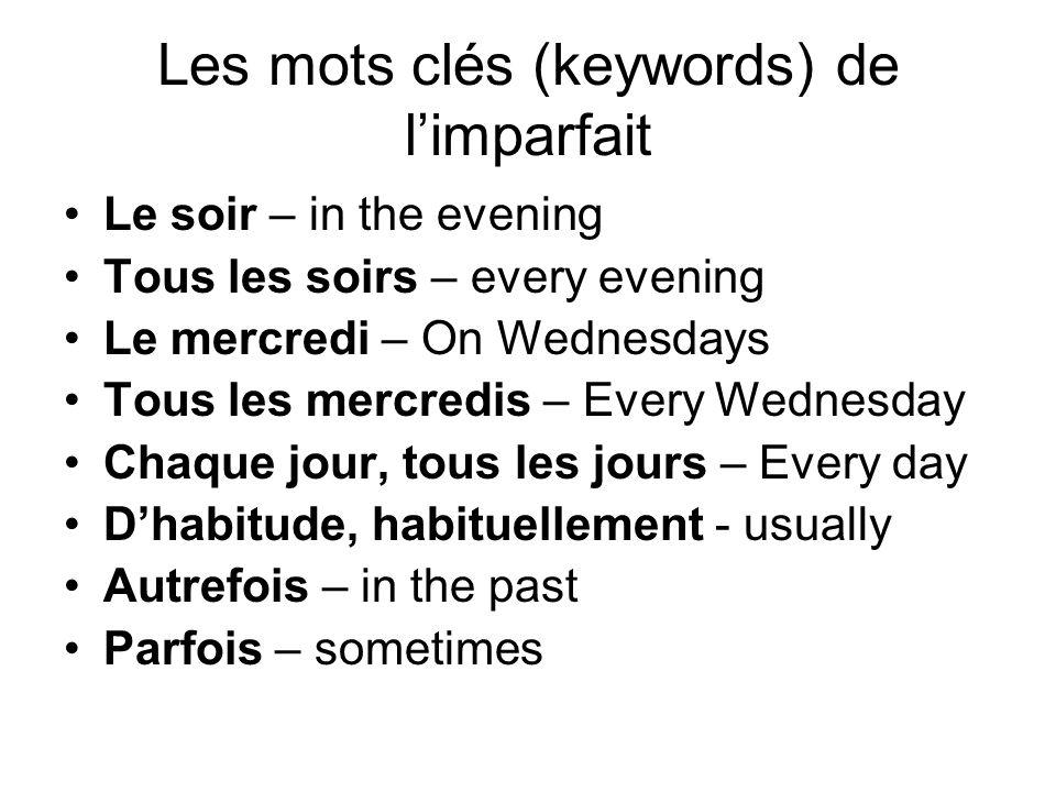 Les mots clés (keywords) de l'imparfait