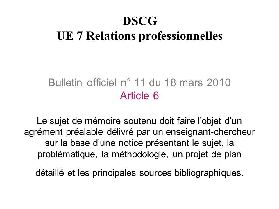 DSCG UE 7 Relations professionnelles