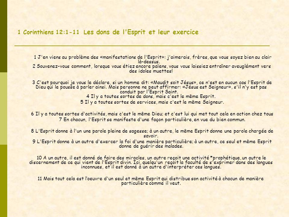 1 Corinthiens 12:1-11 Les dons de l Esprit et leur exercice