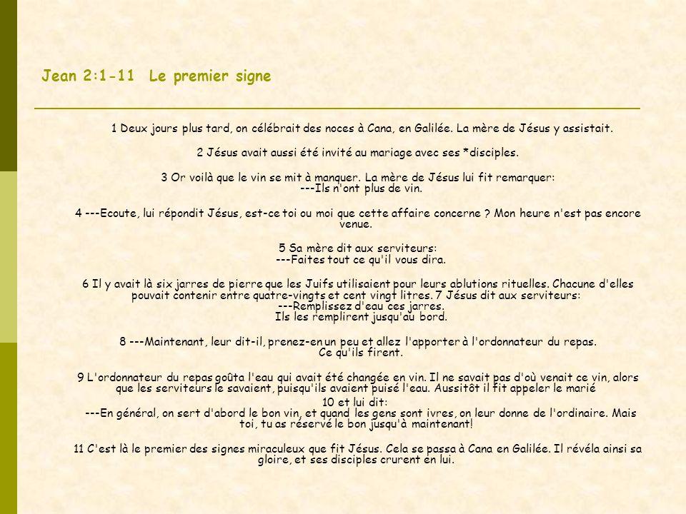 Jean 2:1-11 Le premier signe