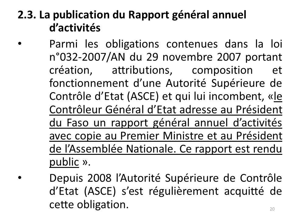 2.3. La publication du Rapport général annuel d'activités