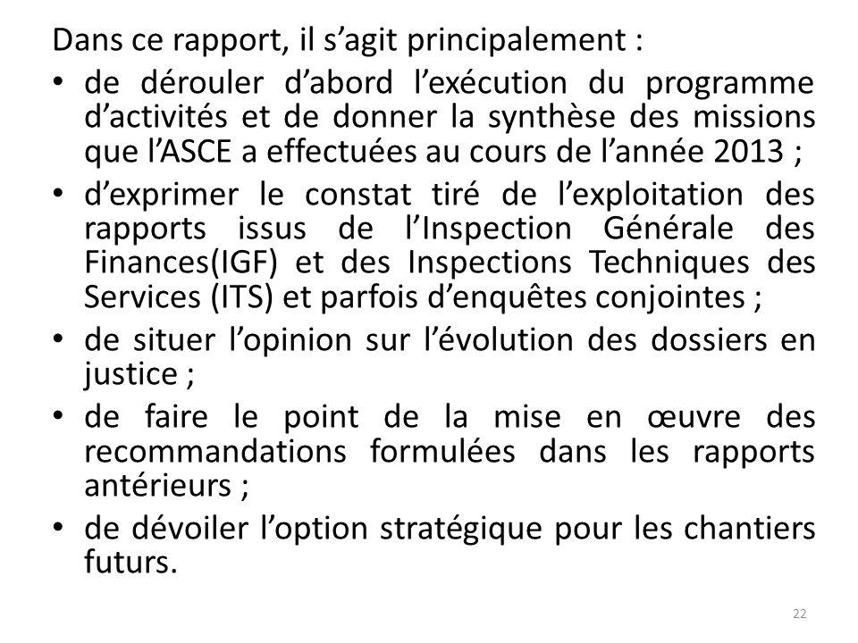 Dans ce rapport, il s'agit principalement :