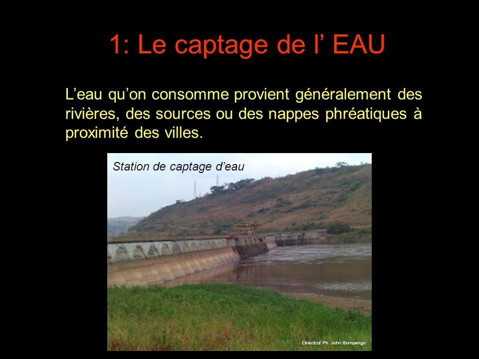 1: Le captage de l' EAU L'eau qu'on consomme provient généralement des rivières, des sources ou des nappes phréatiques à proximité des villes.