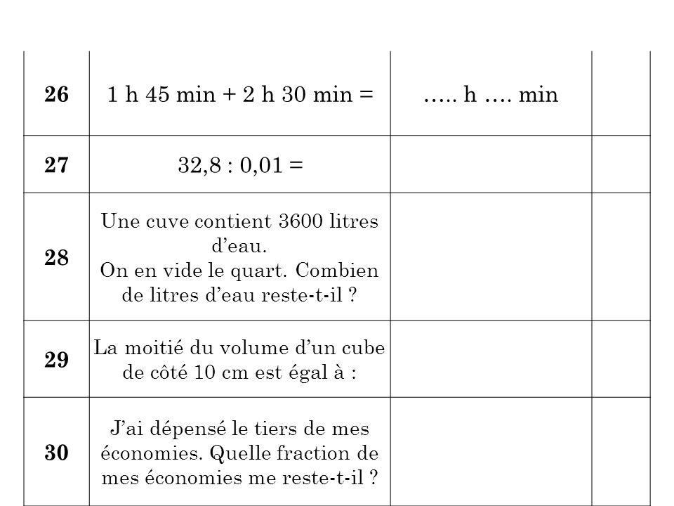 26 1 h 45 min + 2 h 30 min = ….. h …. min. 27. 32,8 : 0,01 = 28. Une cuve contient 3600 litres d'eau.
