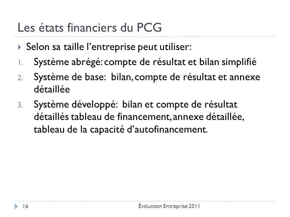 Les états financiers du PCG