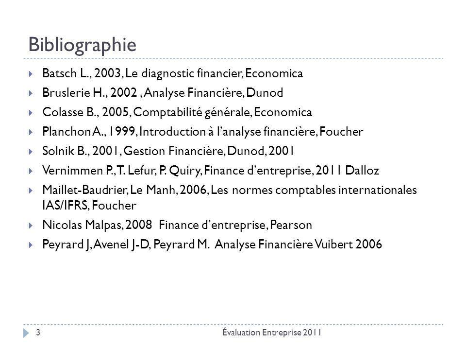 Bibliographie Batsch L., 2003, Le diagnostic financier, Economica