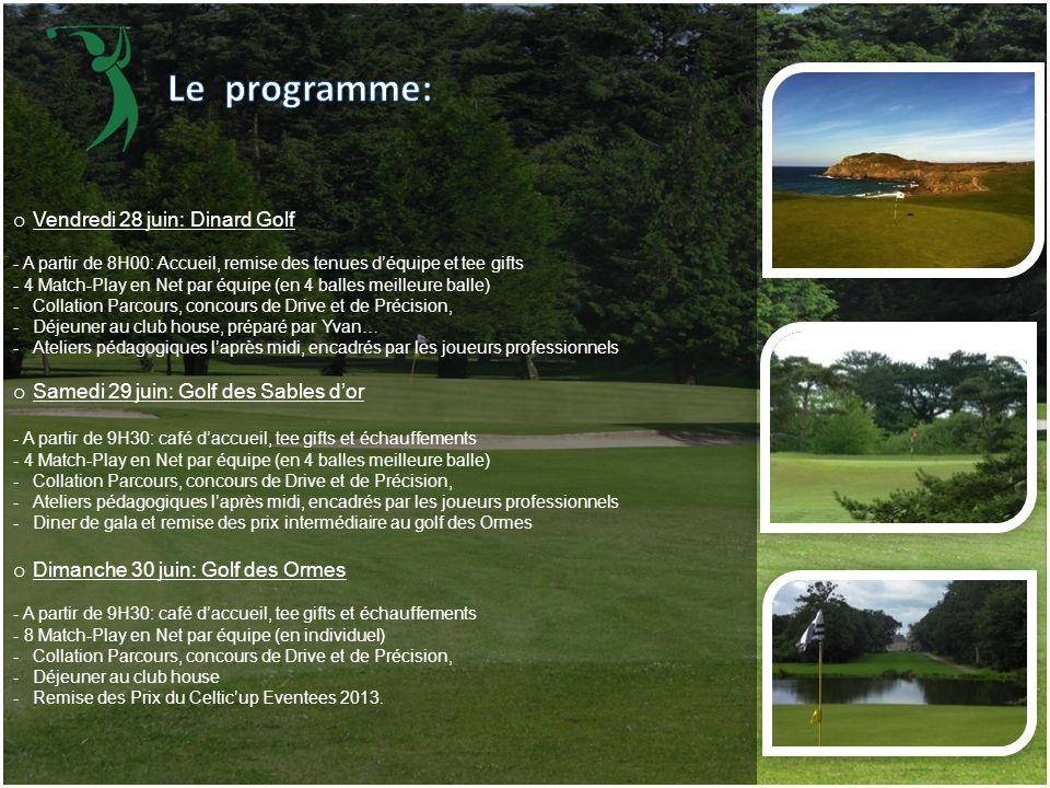 Le programme: Vendredi 28 juin: Dinard Golf