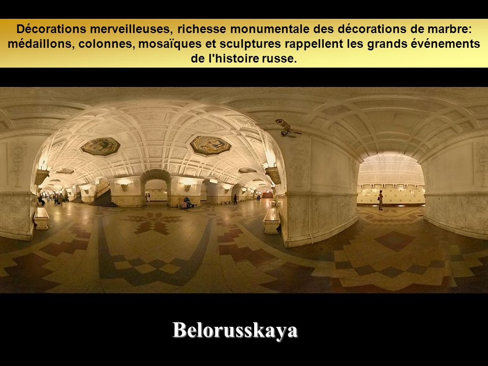Décorations merveilleuses, richesse monumentale des décorations de marbre: médaillons, colonnes, mosaïques et sculptures rappellent les grands événements de l histoire russe.
