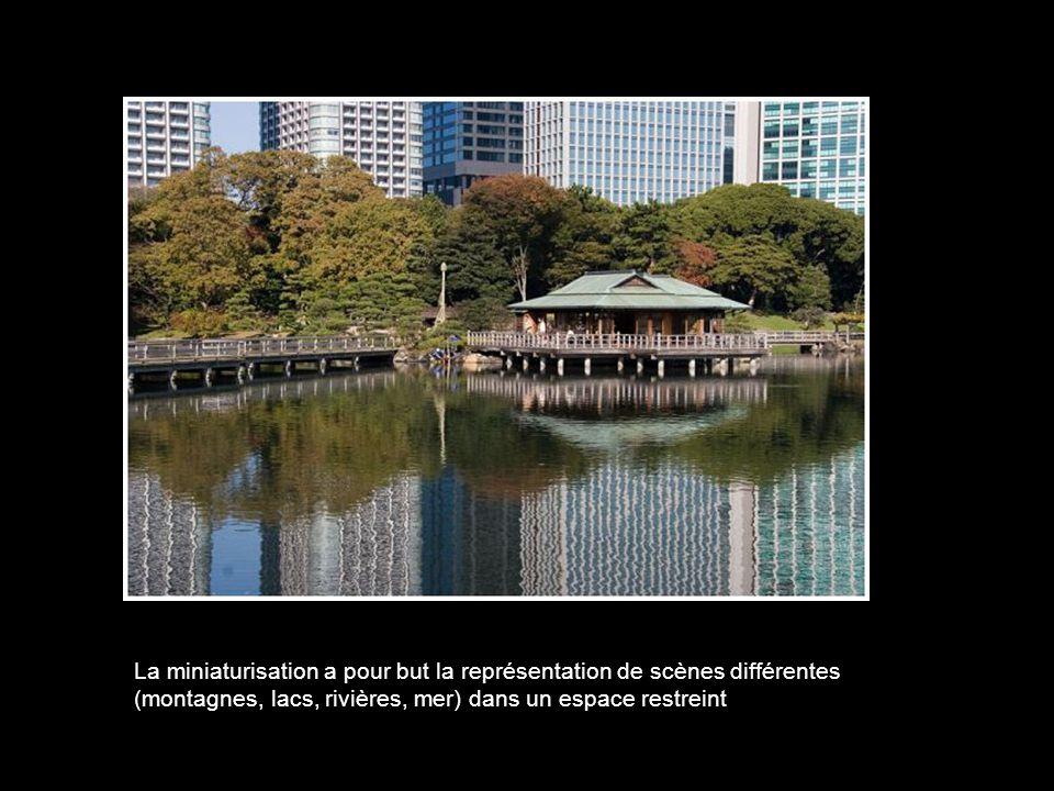 La miniaturisation a pour but la représentation de scènes différentes (montagnes, lacs, rivières, mer) dans un espace restreint