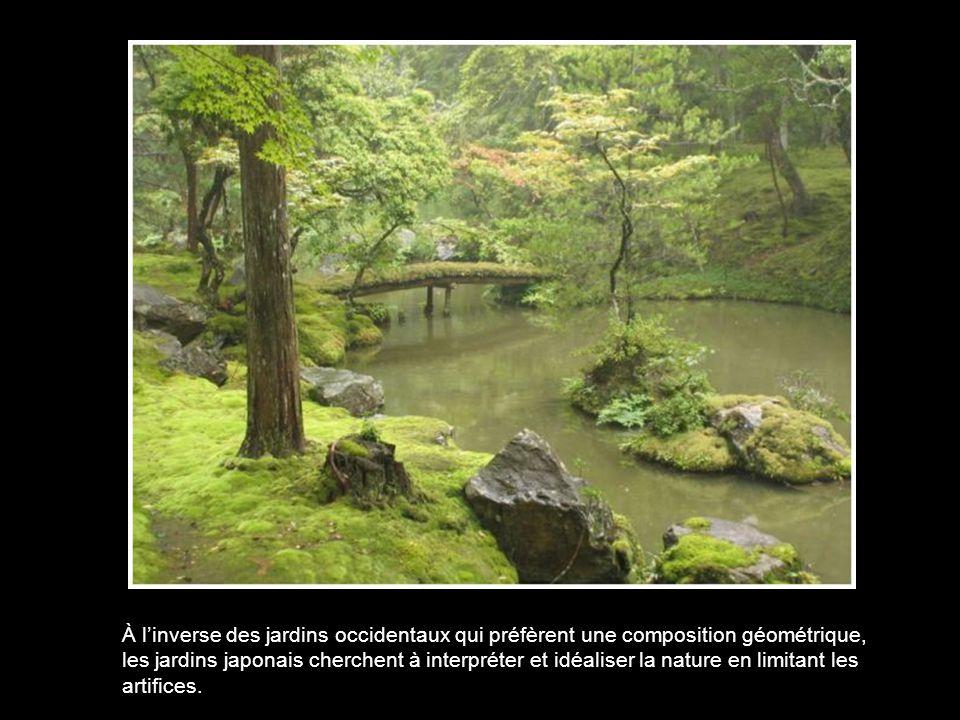 À l'inverse des jardins occidentaux qui préfèrent une composition géométrique, les jardins japonais cherchent à interpréter et idéaliser la nature en limitant les artifices.