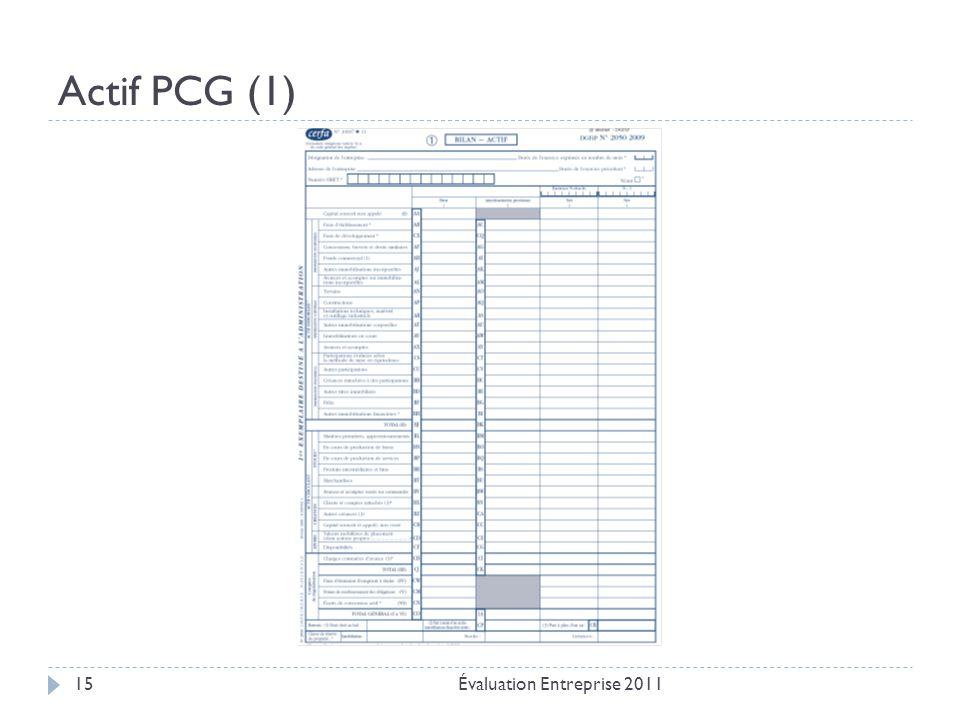 Actif PCG (1) Évaluation Entreprise 2011